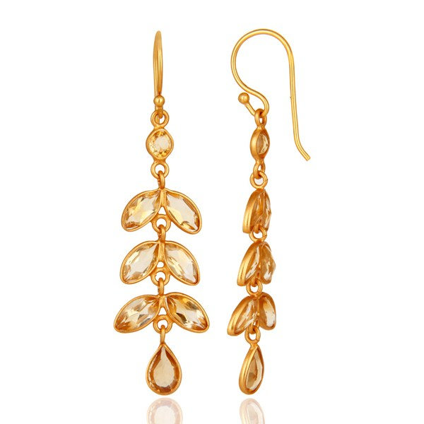 Suppliers 18K Yellow Gold Plated Sterling Silver Citrine Gemstone Leaf Dangle Earrings