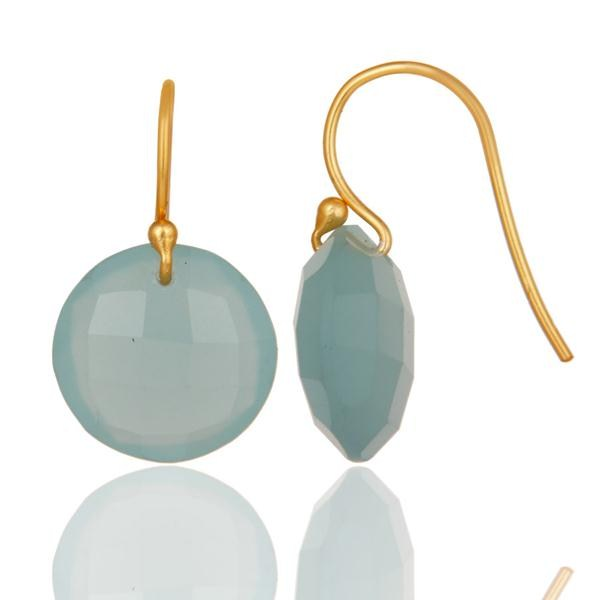 Designers Lab-Created Aqua Blue Chalcedony Gold Plated Sterling Silver Hook Earrings