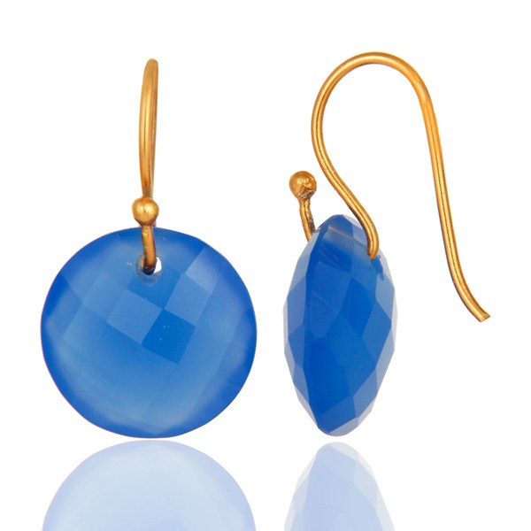 Suppliers Faceted Dyed Blue Chalcedony Yellow Gold Plated Sterling Silver Hook Earrings