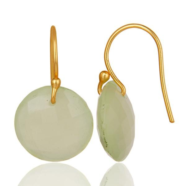 Suppliers Faceted Dyed Chalcedony Yellow 18K Gold Plated Sterling Silver Hook Earrings