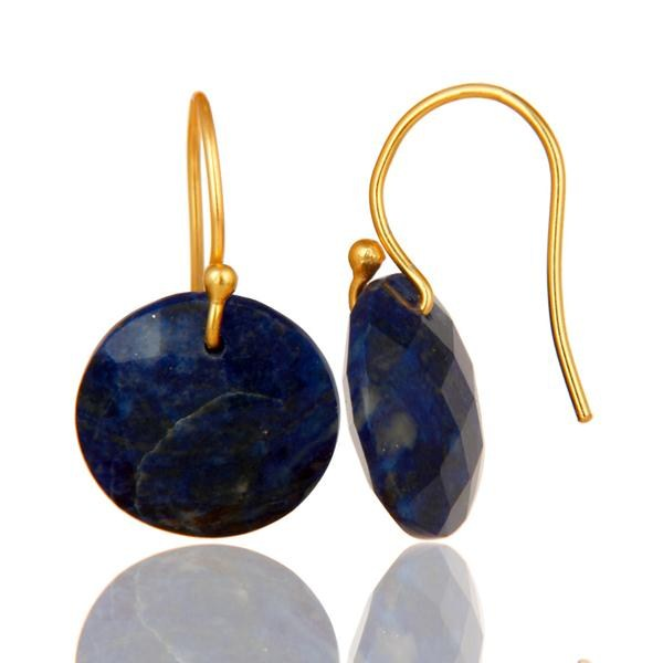 Suppliers Faceted Lapis Lazuli Yellow 18K Gold Plated Sterling Silver Hook Earrings