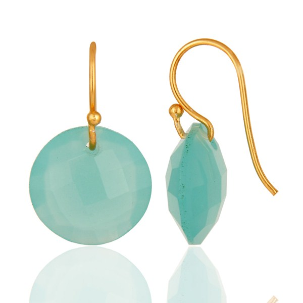 Suppliers Lab-Created Aqua Blue Chalcedony Gold Plated Sterling Silver Hook Earrings