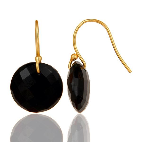 Suppliers Black Onyx Faceted Round Shape Gemstone Dangle Earrings In 18K Gold On Silver