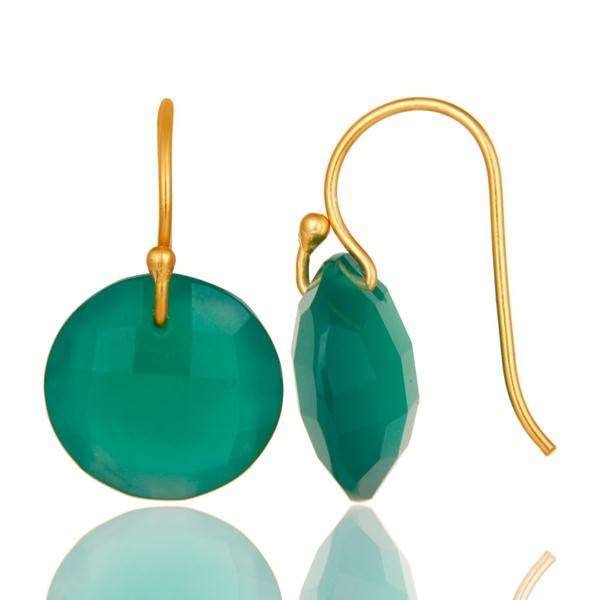 Suppliers Green Onyx Faceted Round Shape Gemstone Dangle Earrings In 18K Gold On Silver