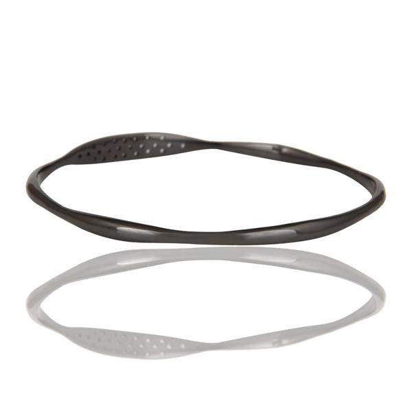 Wholesalers of 18k gold over black oxidized 925 silver white topaz bangle jewelry