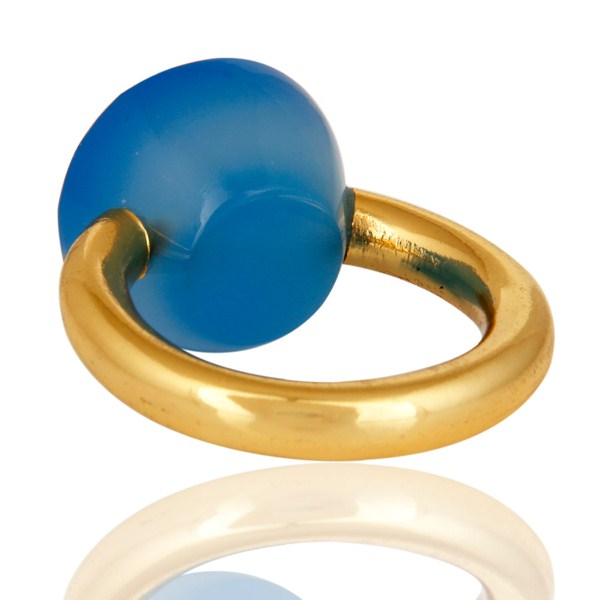 Suppliers 18K Yellow Gold Plated Faceted Blue Chalcedony Sterling Silver Ring