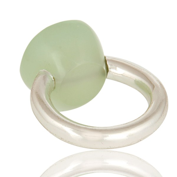 Suppliers Faceted Green Chalcedony Gemstone Sterling Silver Ring