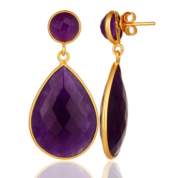 Suppliers 18K Gold Plated Faceted Purple Chalcedony Sterling Silver Bezel-Set Earrings