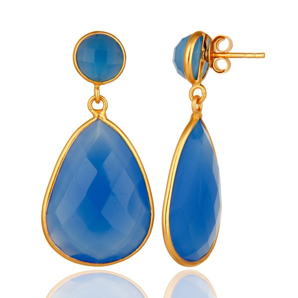Gold Plated Sterling Silver Faceted Blue Chalcedony Gemstone Bezel Earrings From Jaipur India