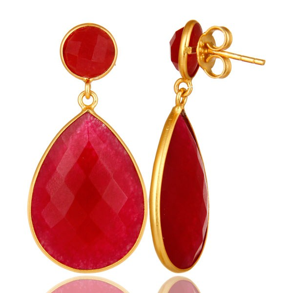 Suppliers 18K Yellow Gold Plated Sterling Silver Red Aventurine Bezel Set Teardrop Earring