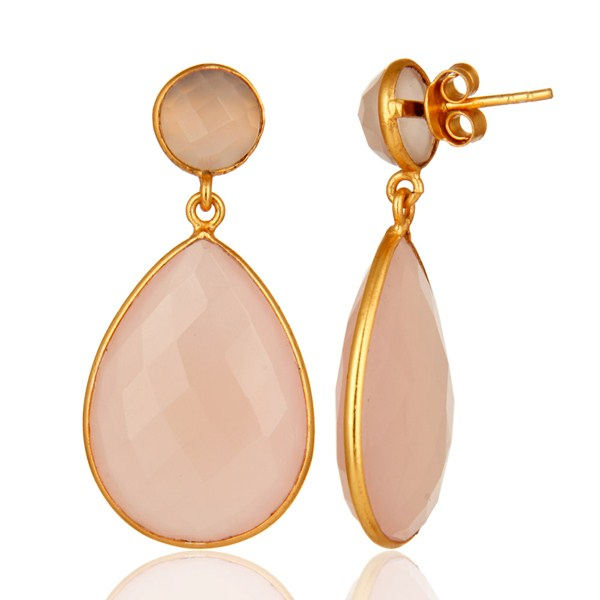 Gold Plated Rose Chalcedony Gemstone Bezel Drop Earrings From Jaipur India