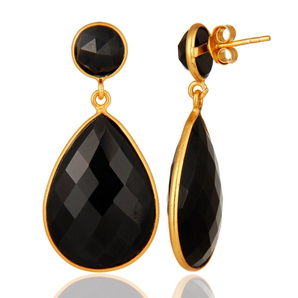925 Sterling Silver Bezel Black Onyx Gemstone Drop Earrings - Gold Plated From Jaipur India