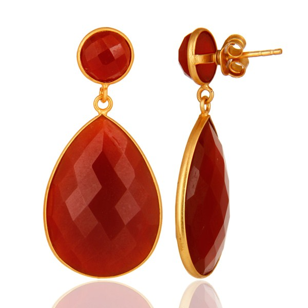 925 Sterling Silver Faceted Red Onyx Gemstone Drop Earrings - Gold Plated From Jaipur India