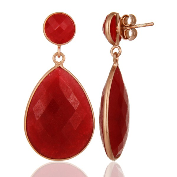 18K Rose Gold Plated Sterling Silver Aventurine Bezel Earrings From Jaipur India