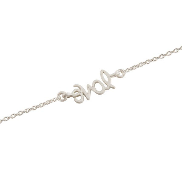 Suppliers Handcrafted Solid Sterling Silver Cursive Style Love Word Chain Bracelet