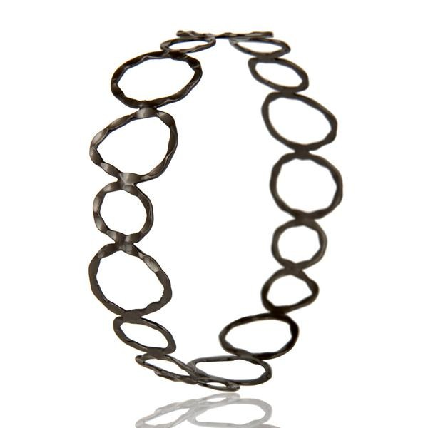 Wholesalers of Black oxidized sterling silver hammered open circle wide bangle