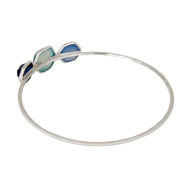 Wholesalers of Turquoise blue corundum chalcedony handmade bangle sterling silver