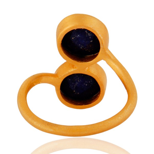 Suppliers 18K Yellow Gold Plated Sterling Silver Natural Lapis Lazuli Gemstone Ring