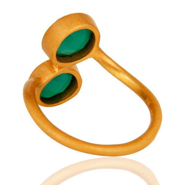 Suppliers 18K Yellow Gold Over Sterling Silver Green Onyx Gemstone Stacking Ring