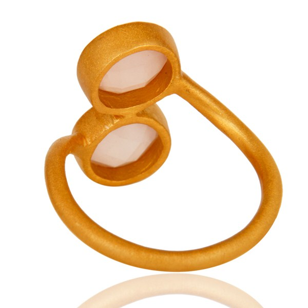 Suppliers 18K Yellow Gold Plated Sterling Silver Dyed Rose Chalcedony Gemstone Ring