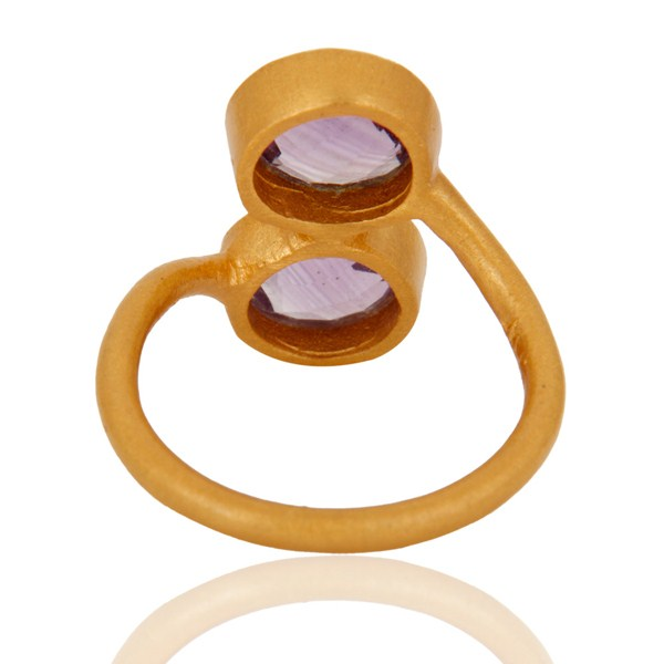 Suppliers 18K Yellow Gold Plated Sterling Silver Amethyst Gemstone Stacking Ring