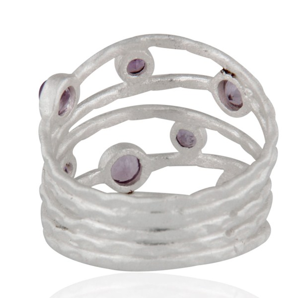 Suppliers Solid 925 Sterling Silver Amethyst Gemstone Textured Design Ring