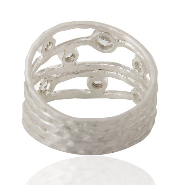 Suppliers 925 Sterling Silver White Topaz Gemstone Textured Five Joined Band Ring