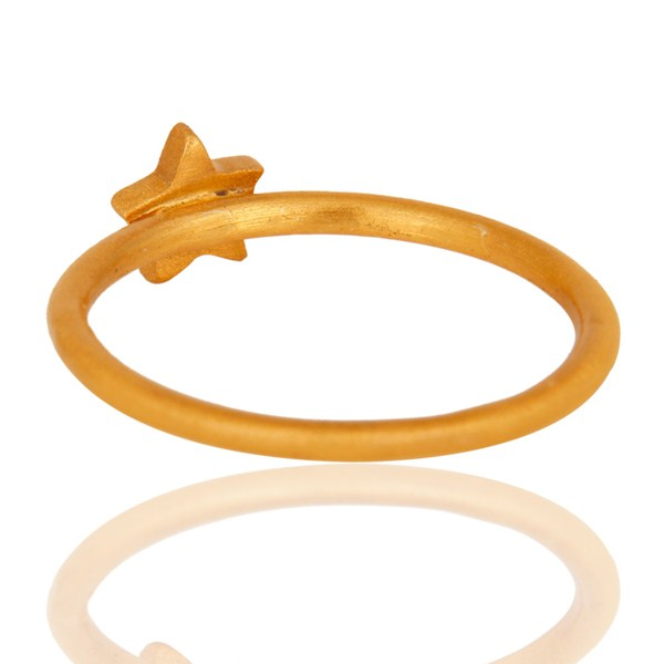Suppliers 18K Yellow Gold Plated Sterling Silver Star Design Stackable Ring
