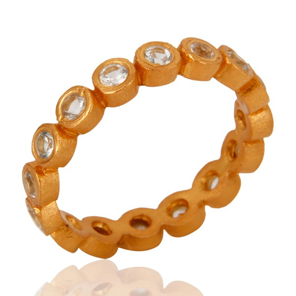 Suppliers 18k Yellow Gold-Plated Sterling Silver White Topaz Stackable Eternity Ring