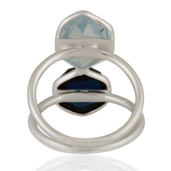Suppliers 925 Sterling Silver Blue Corundum And Blue Topaz Bezel-Set Ring