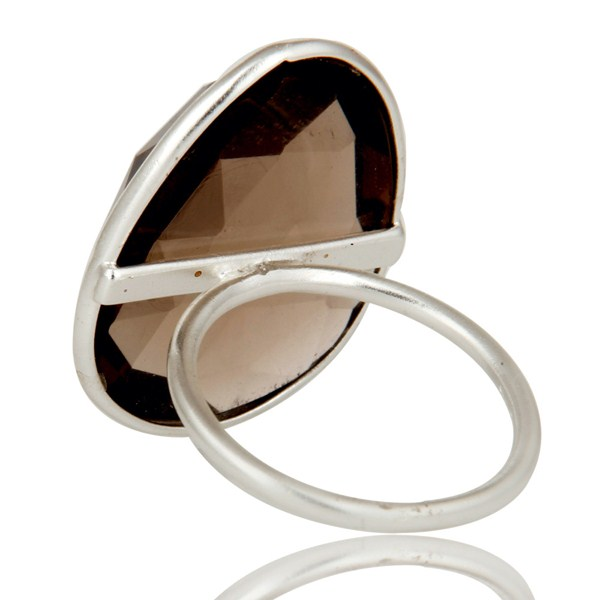 Suppliers Solid Sterling Silver Smokey Quartz Bezel Set Statement Ring