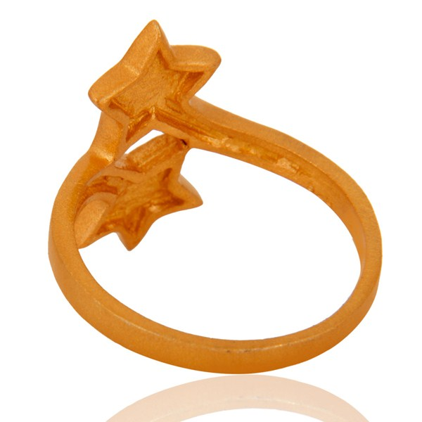 Designers 18K Yellow Gold Plated Sterling Silver Double Star Sign Stacking Ring