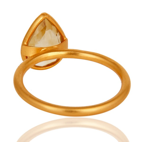Suppliers 18K Yellow Gold Plated Sterling Silver Natural Citrine Gemstone Ring