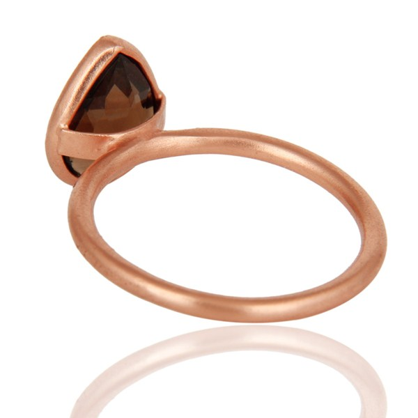Suppliers 18K Rose Gold Plated Sterling Silver Natural Smoky Quartz Bezel Gemstone Ring