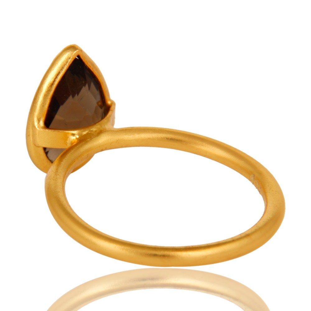 Suppliers 18K Yellow Gold Plated Sterling Silver Smoky Quartz Bezel Set Stackable Ring