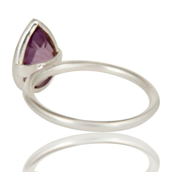 Suppliers Solid 925 Sterling Silver Natural Amethyst Pear Shape Gemstone Stackable Ring