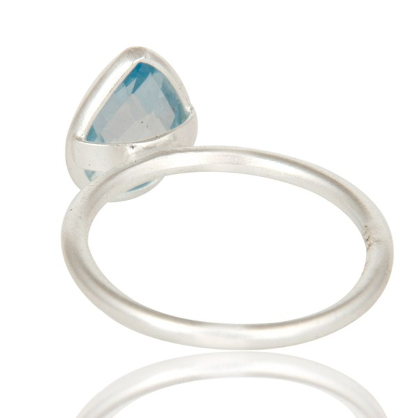Suppliers 925 Sterling Silver Natural Blue Topaz Pear Shape Gemstone Stack Ring