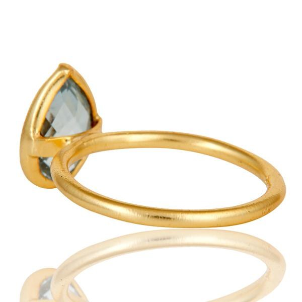 Suppliers 18k Gold Plated Sterling Silver Checkered Blue Topaz Pear Shape Gemstone Ring
