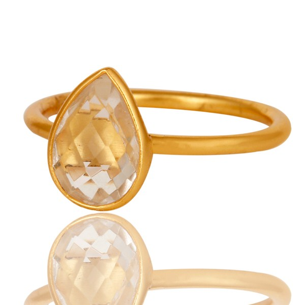 Suppliers 18K Gold Plated 925 Silver Natural Crystal Quartz Pear Shape Gemstone Stack Ring