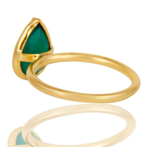 Suppliers 18K Yellow Gold Plated Sterling Silver Green Onyx Pear Stackable Ring