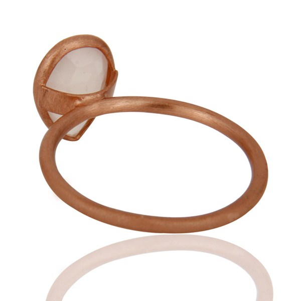 Suppliers 18K Rose Gold Plated Sterling Silver Rose Chalcedony Bezel Set Stacking Ring