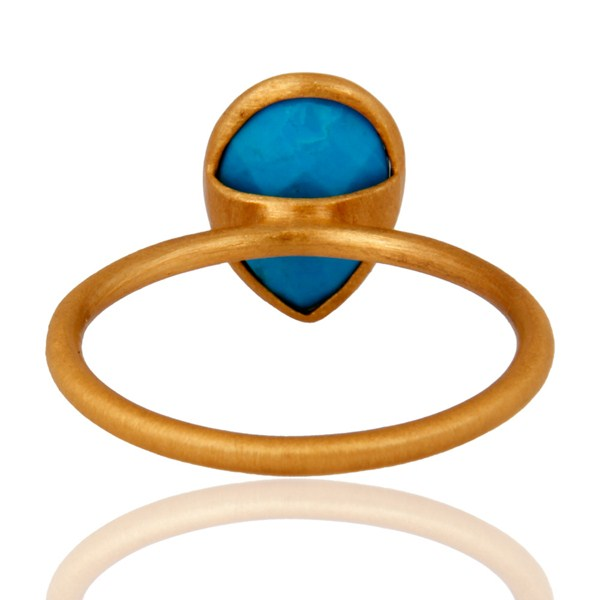 Suppliers Turquoise Gemstone Sterling Silver Stacking Ring With Yellow Gold Plated