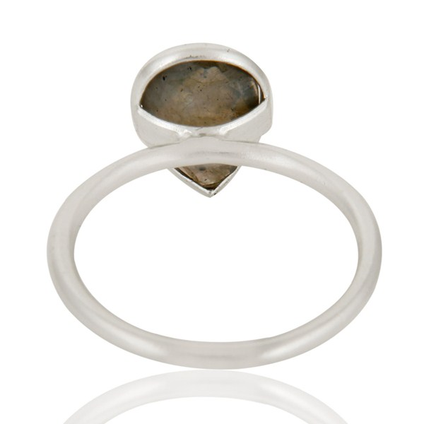 Suppliers 925 Solid Sterling Silver Labradorite Gemstone Bezel Set Drop Ring