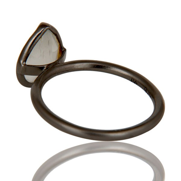 Suppliers Oxidized Sterling Silver White Moonstone Bezel Set Drop Stacking Ring