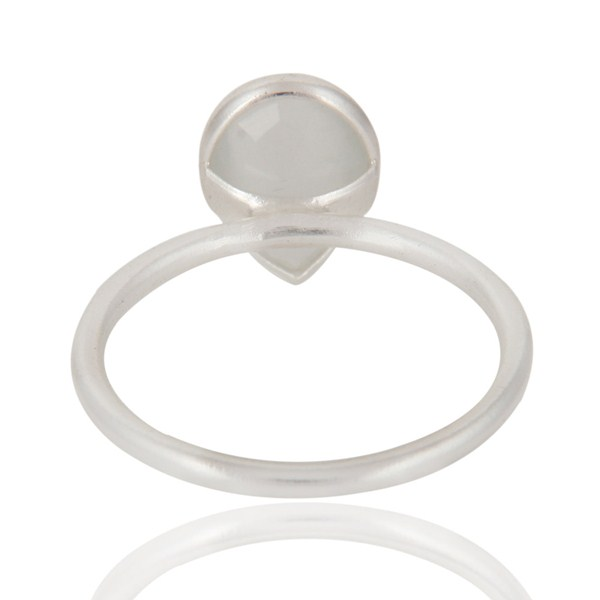 Suppliers Genuine 925 Sterling Silver White Moonstone Bezel Set Drop Ring