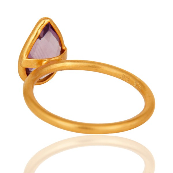 Suppliers 18K Yellow Gold Plated Sterling Silver Amethyst Bezel Stacking Ring