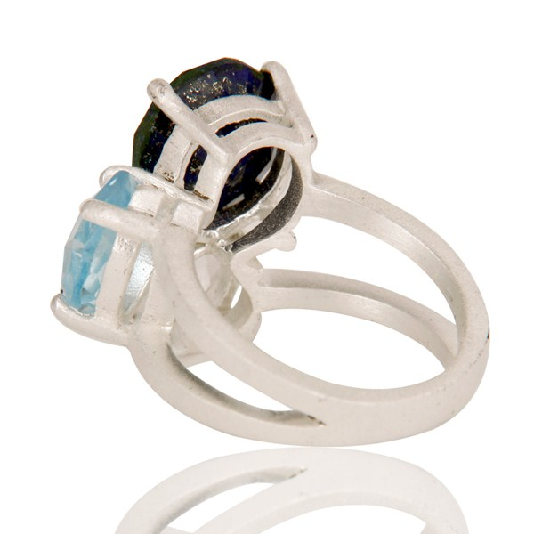 Suppliers Blue Topaz, Crystal Quartz And Lapis Lazuli Cluster Ring Made In Sterling Silver