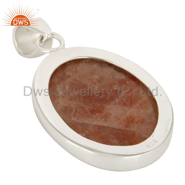 Manufacturer of Handmade Solid Sterling Silver Natural Sunstone Pendant In Jaipur