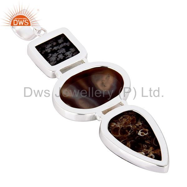 Manufacturer of Snowflake Obsidian, Solar Quartz And Turritella Agate Sterling Silver Pendant In India