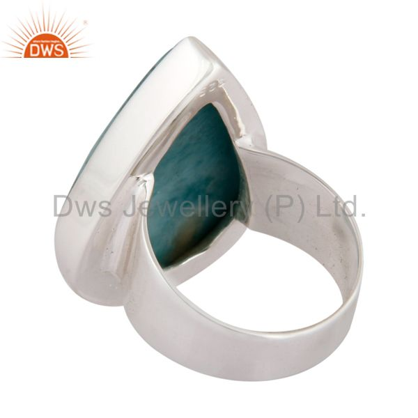 Top Selling Natural Larimar Gemstone Solid 925 Sterling Silver Handmade Ring Size US 6